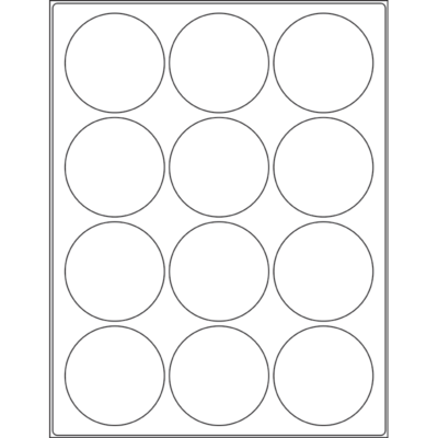 "2.5"" circle (12up) DIY FREEZER-Grade/Durable Sheet Labels"